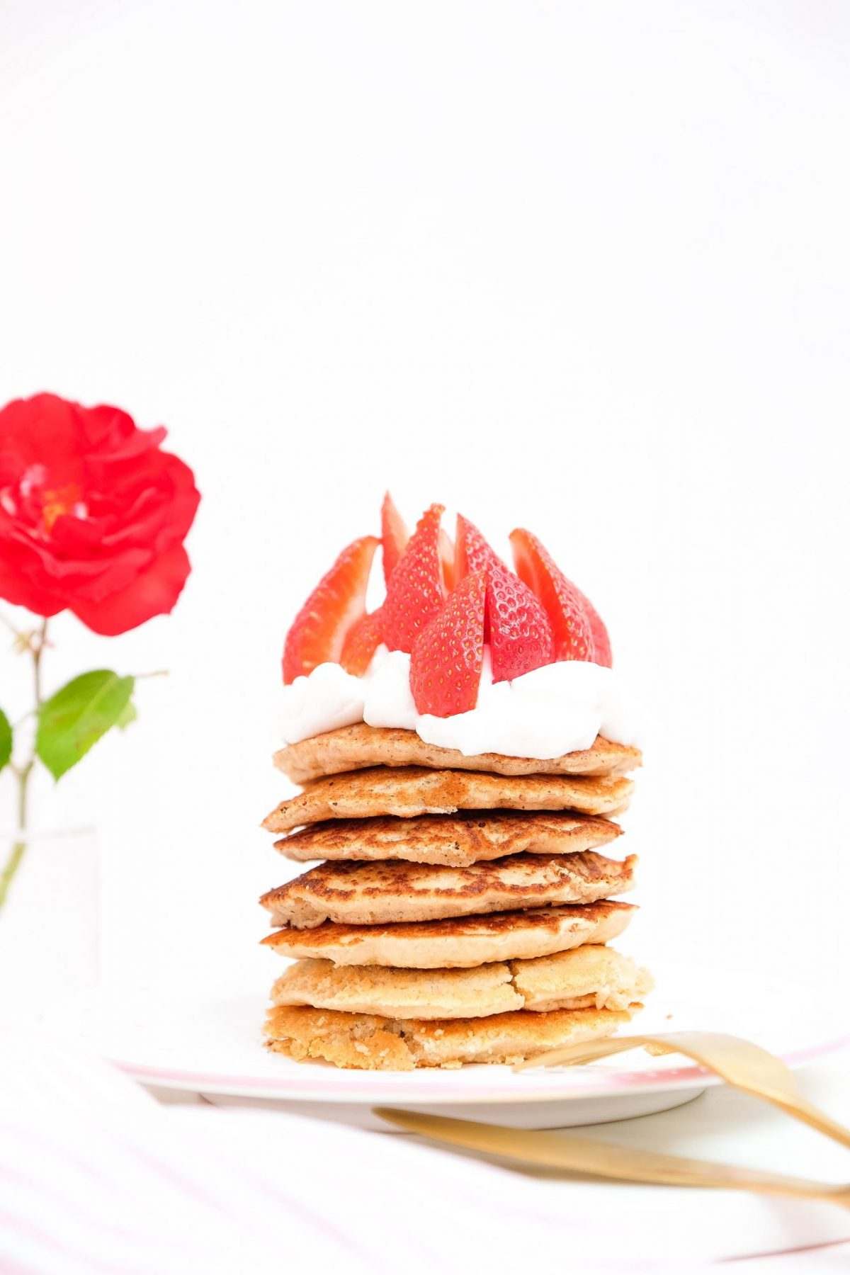 PANCAKE TOWER WITH COCONUT YOGHURT AND FRESH FRUIT